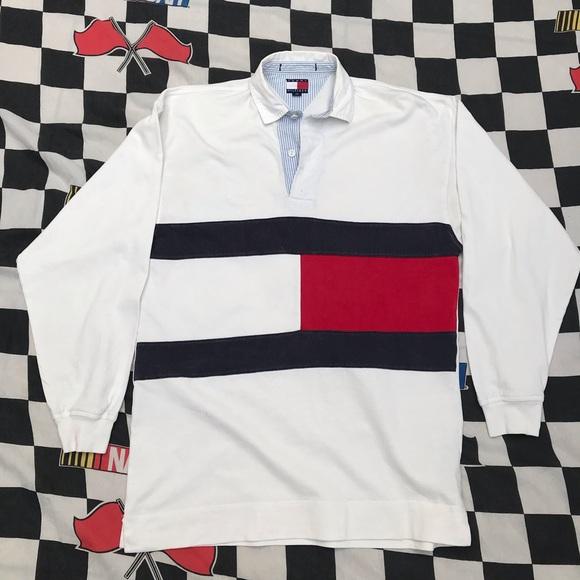 17cdb0e0d Vintage 90s Tommy Hilfiger big logo collared shirt